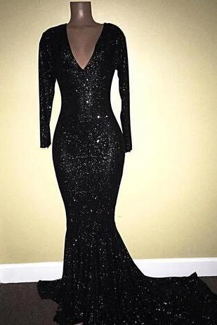 New Arrival Black Sequined Mermaid Evening Dresses 2020 Sexy Deep V Neck Sparkling Long Sleeves Prom Dresses Women Pageant Party Gown