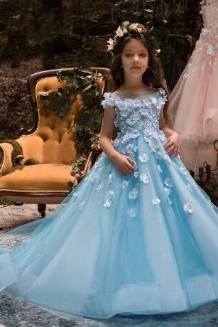 2018 Blue Flower Girl Dresses For Weddings Cap Sleeve 3D Floral Flowers Beads Little Baby Ball Gowns Puffy Skirts Communion Pageant Dresses