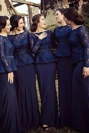 2018 Navy Blue Bridesmaid Dresses Mermaid Style Long Sleeves Maid of Honor Dresses Vintage Lace Bodice Scoop Zipper Back with Sash Peplum