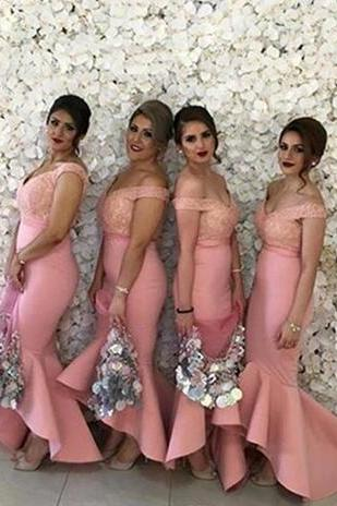 2018 New Arabic Bridesmaids Dresses Sweetheart Off Shoulders Backless Lace Bodice High Low Dubai Ruffle Skirt Maid of the Honor Dresses