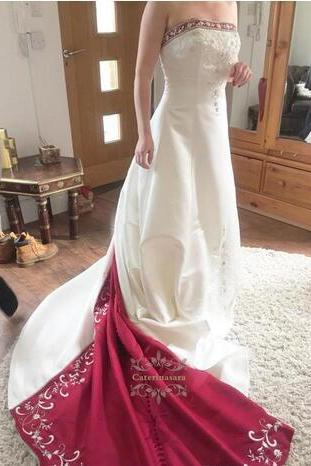 Vintage Red And White Satin A Line Wedding Dresses 2018 Real Image Plus Size Embroidery Beaded Bridal Gowns For Garden Country Custom Made