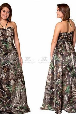 Sexy Halter A-Line Camo Wedding Dresses Backless Bridal Gowns 2017 Real Tree Camouflage Outside Vestidos De Novia
