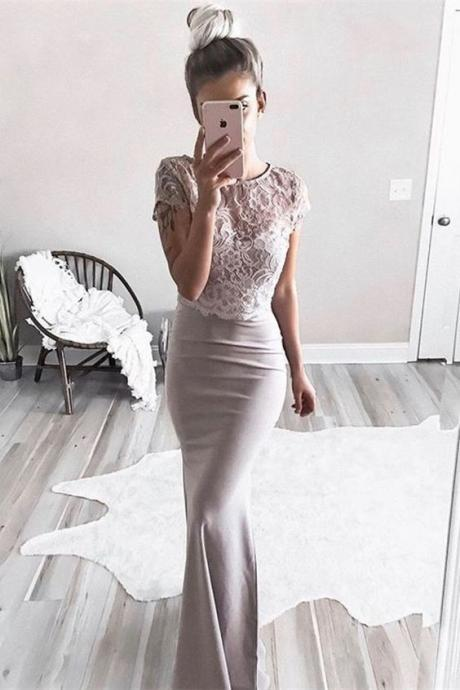 Two Piece Round Neck Short Sleeves Champagne Prom Dress with Lace