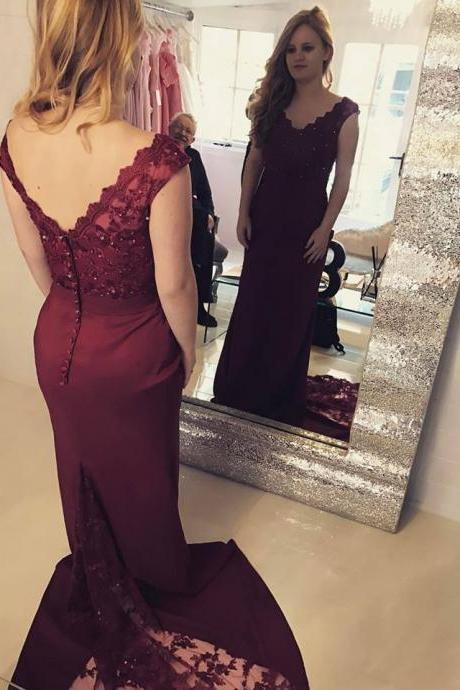 Charming Prom Dress, V Neck Lace Mermaid Prom Dresses, Sexy Burgundy Formal Evening Dress