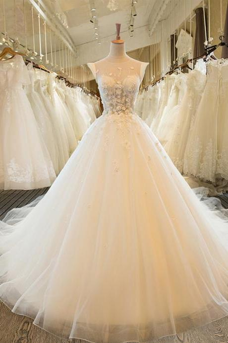 Charming Tulle Wedding Dress, Sexy Ball Gown Wedding Dresses, Scoop Neckline Bridal Dresses