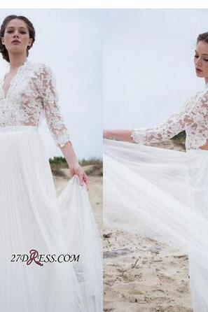 2018 Bohemian Country A Line Wedding Dresses Sheer Long Sleeves V Neck Sexy Open Back Lace Tulle Boho Beach Bridal Gowns Cheap