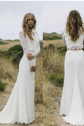 Two Pieces Wedding Dresses 2018 Sheer Long Sleeves V Neck Sheath Boho Wedding Gowns Robe de Mariage