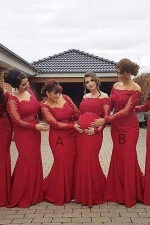 Burgundy Mermaid Bridesmaid Dresses 2018 For Weddings Long Sleeves Lace Appliques Sashes Off Shoulder Sweep Train Maid Of Honor Gowns