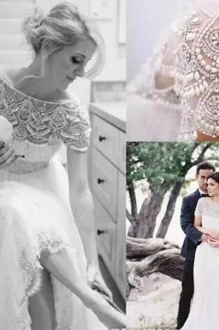 2018 Spring Stunning Bateau Neck Short Sleeves Beading Crystal Lace Wedding Dresses Sheer Tulle Floor Length Country Style Beach Bridal Gown