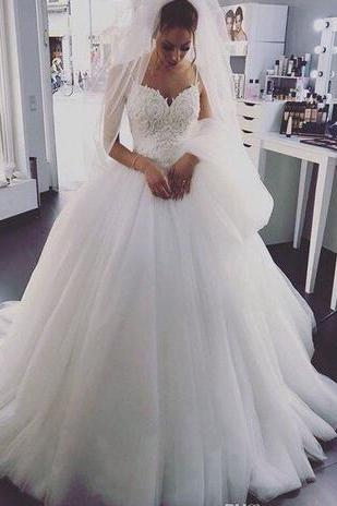 Elegant Wedding Dresses with Pearls Lace China Cheap Straps Sweetheart Neck Tulle Corset Long Merry Bridal Gowns Vestido De Noiva