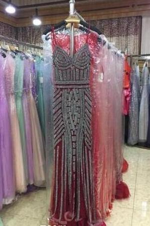 Robe De Soiree Glitter Evening Dresses with Crystals Long Prom Dresses Mermaid Party Gowns Designs Real Photo