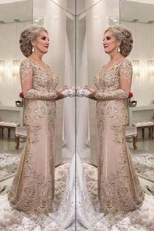 2018 New Elegant Sheer Long Sleeves Lace Mermaid Long Mother of Bride Groom Dresses Tulle Applique Beaded Floor Length Mother Dresses