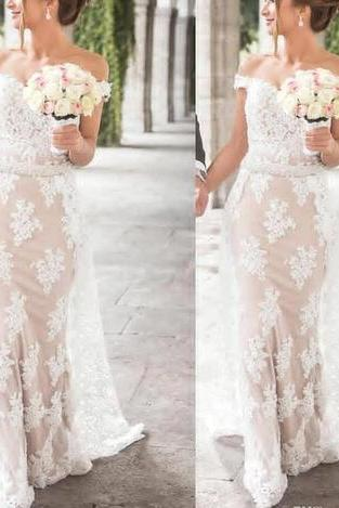 Off-the-Shoulder Lace Mermaid Wedding Dress with Beaded Sash
