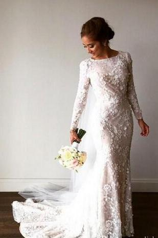 3D Floral Appliqués Mermaid Wedding Dress with Long Sleeves and Court Train