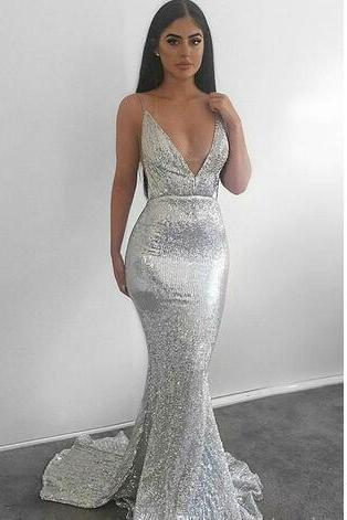 2018 New Sexy Spaghetti Straps Deep V Neck Prom Dresses Sequined Backless Custom Made Mermaid Bling Bling Evening Gowns Party