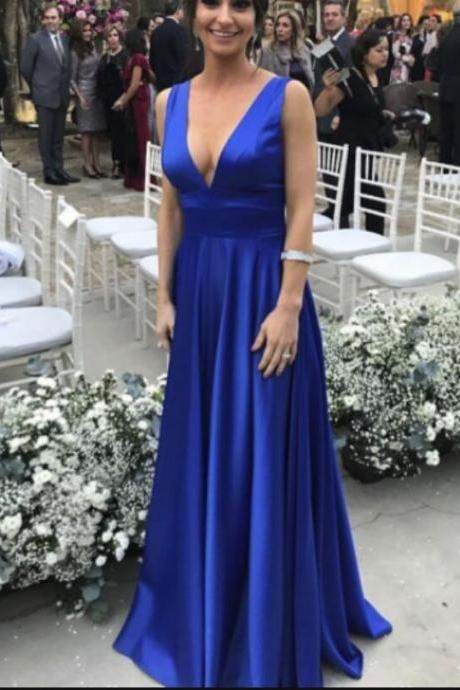 Simple Satin Blue V-neckline Prom Party Dress, Blue Evening Gowns, Party Dresses