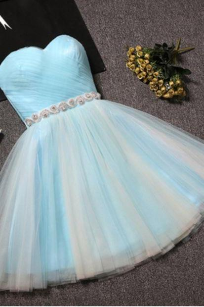Light Blue Short Sweetheart Prom Dress, Tulle Homecoming Dresses, Lovely Party Dress