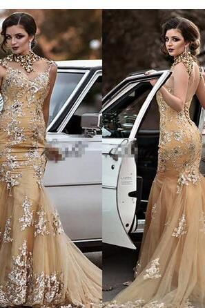 Gold Shiny Long Mermaid Evening Dresses High Neck with Sleeveless Sweep Train Appliques Tulle Prom Gowns Elegant Party Dress
