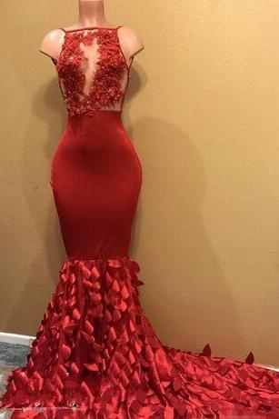 2018 Designer Illusion Bodice Red Prom Dresses Long Leaf Tiered Mermaid Skirt Lace Appliques Beads Formal Evening Dress Pageant Gown