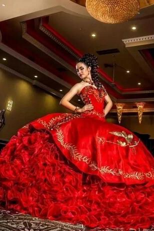 2018 Sexy Sweetheart Red Embroidery Ball Gown Quinceanera Dresses Satin Lace Up Floor Length Vestido De Festa Sweet 16 Dress