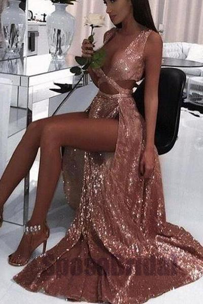2018 Charming Sexy Sequin Sparkly Simple Rose Gold and Black Split Fashion Popular Prom Dresses, Evening dresses