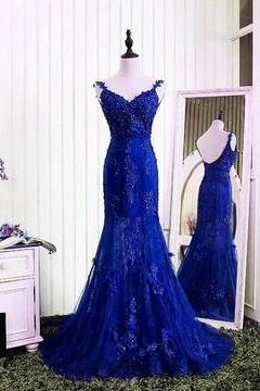 Gorgeous V- Neck Open Back Lace Evening Dresses Mermaid Prom Gowns 2018