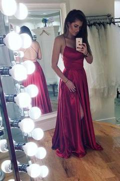 Long Satin Open Back Prom Dresses 2018 Leg Slit Evening Gowns