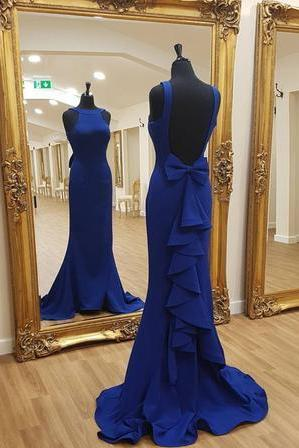 Satin Bow Back Mermaid Prom Dresses 2018 Formal Evening Gowns
