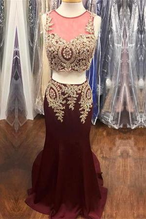 Gold Lace Appliques Beaded Mermaid Prom Dresses Two Piece
