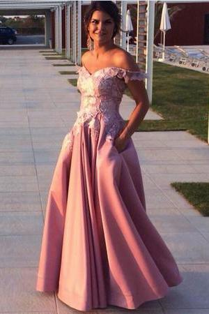 Lace Embroidery V-neck Long Satin Prom Dresses Off-the-shoulder