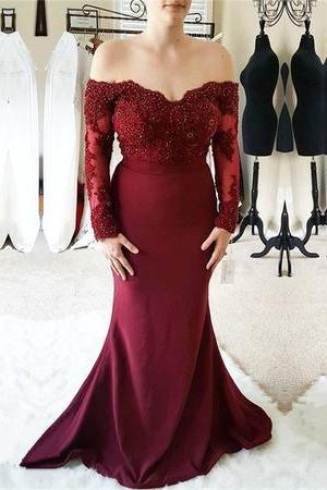 Burgundy Lace Off Shoulder Mermaid Long Sleeves Prom Party Dresses