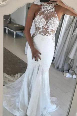 High Neck Illusion Lace Mermaid Wedding Dress Featuring Button Back and Train
