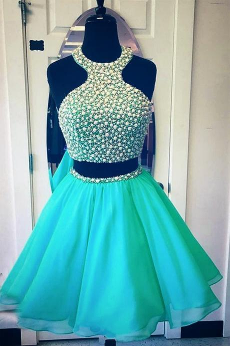 green two pieces short prom dress, cute green homecomg dresses