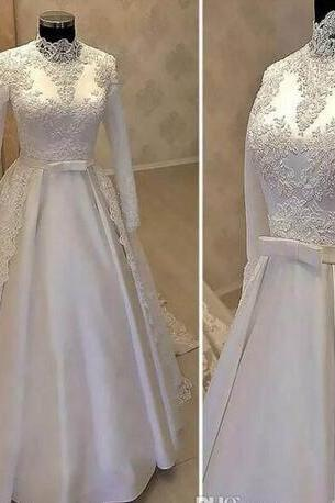 Vintage High Neck Muslim Wedding Dresses 2018 With Long Sleeve Lace Overskirts Satin Country Bridal Gowns With Belt