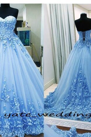 Ball Gown Prom Dresses Sweetheart Appliques Tulle Backless Bandage Light Blue Evening Gowns Quinceanera Dresses Sweet 16 Dresses