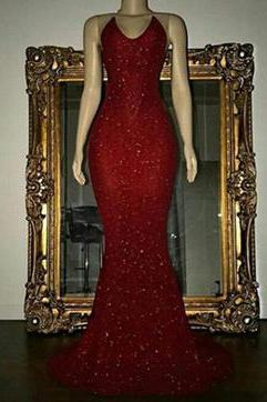 Halter Sexy Bling Bling Sequins Prom Dress Mermaid Evening Party Dress