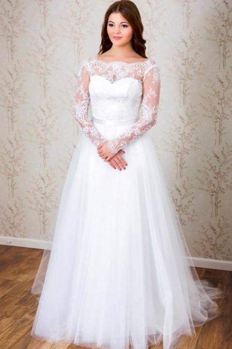 Simple A-line Long Sleeves White Tulle Lace Top Long Wedding Dresses