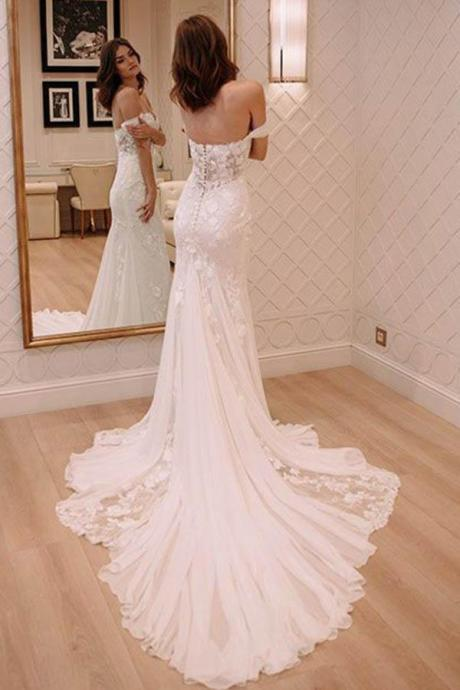Princess Off Shoulder Court Train Chiffon Long Wedding Dress with Lace Appliques