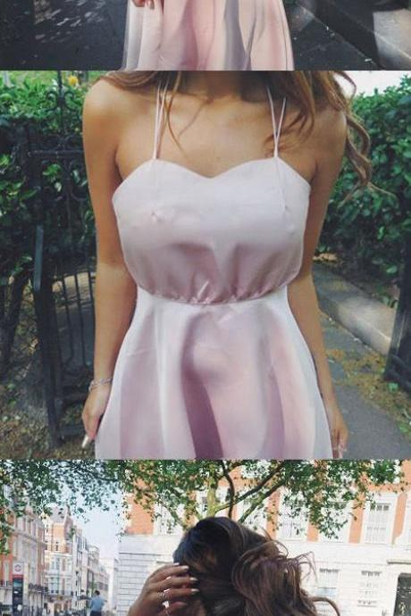 Elegant A-Line Spaghetti Straps Sleeveless Criss Cross Satin Tea-Length Homecoming Dress