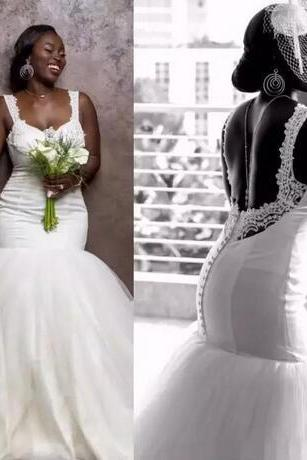 Plus Size Mermaid Wedding Dresses African Lace Sexy Backless Wedding Gowns Custom Made Saudi Arabic Bridal Dress