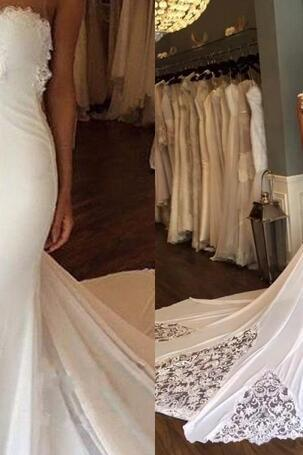 2018 Sexy Mermaid Wedding Dresses Applique Lace Beach Wedding Bridal Gowns Custom Made Plus Size Boho Sexy Backless Bridal Dress