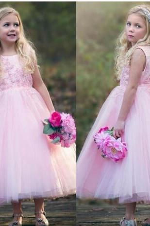 2018 Cute Pink Jewel Neck A Line Toddler Kids Flower Girl Dresses For Western Country Weddings Princess Tea Length Girls Birthday Dress