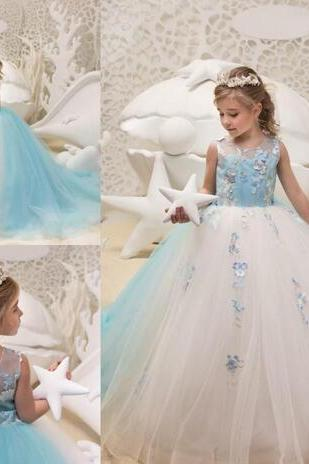 2018 New Sheer Crew Neck Princess Flower Girl Dresses Sleeveless Styles Corset Back Butterfly Girls Formal Gown Pageant Dress