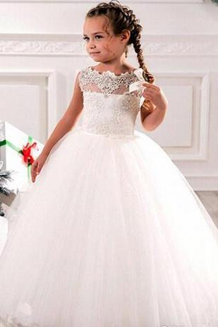 Cheap Flower Girls Dresses Tulle Lace Top Spaghetti Formal Kids Wear For Party 2018 Toddler Gowns Formal Communion Party Dresses Custom