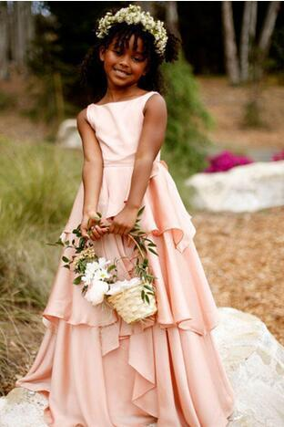 2018 New Flower Girl Dresses Pretty Chiffon Blush Pink Sleeveless Girls Pageant Gowns Communion For Wedding Formal Party Gowns Custom Made