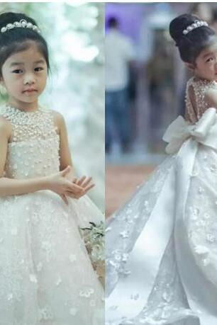 Cute Long Sleeves Flower Girls Dresses For Weddings Sheer Neck Lace Tulle Floor Length Ball Gown Princess Children Birthday Party Dresses