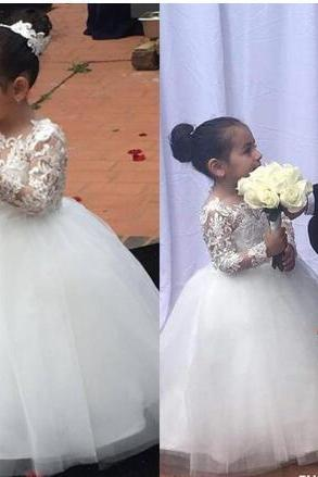 Princess White Lace Flower Girl Dress 2018 floor length long sleeve First Communion Birthday Party Dresses Girls Pageant Dress For Weddings