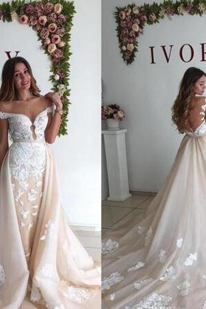 2018 Arabic Wedding Dresses A Line Off Shoulder Whiter Lace Applique Keyhole Backless with Detachable Train Plus Size Formal Bridal Gowns