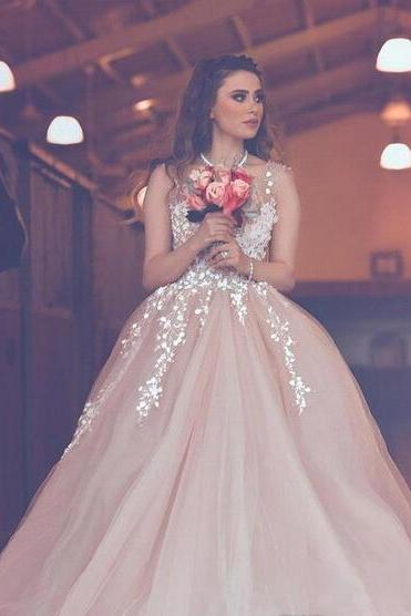 Said Mhamad Arabic Light Pink A Line Wedding Dresses Appliques Sheer Neck Backless Long Wedding Reception Wear Formal Gowns