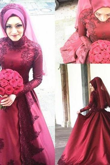 Dark Red Muslim Wedding Dresses High Neck Long Sleeve Beaded Appliques Lace Satin A Line Modest Design Bridal Gowns Custom Made
